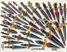 KICK-4$$ Dagger Sticker Flash Sheet designed by Clifton Boggs. Each dagger is a peel off sticker so in total this sheet has 30 individual stickers on it. The full sheet is a normal flash sheet size of 11x14. The sheets are high quality vinyl stickers that are laminated so will last outdoors for up to 5yrs.  You can see more of Clifton's artwork at instagram.com/cliftonboggs  All sticker sheet prices include shipping  Price: $30.00 www.RebalReprints.com