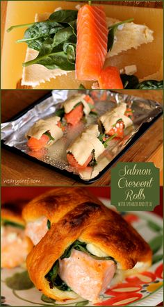 Salmon Crescent Rolls with Spinach and Feta.