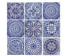 Outdoor wall art, SET OF 9 TILES, garden decor, Ceramic tiles glazed in blue and white, Moroccan tiles, Spanish tiles, Garden art, Ceramic
