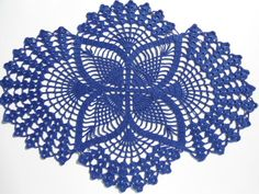 Crochet doily dark blue oval doilies  lace home by kroshetmania