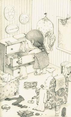 소녀일기(Girl's diary) by 꼬닐리오 on Grafolio Pencil Art Drawings, Art Sketches, Coloring Books, Coloring Pages, Colored Pencil Techniques, Dibujos Cute, Children's Book Illustration, Whimsical Art, Art Sketchbook