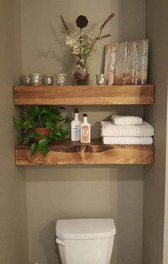 Shipping within two weeks! Shown Patch Color: Provincial Floating Wood Shelves -… Shipping within two weeks! Shown Patch Color: Provincial Floating Wood Shelves -… – Floating Shelves Bathroom, Bathroom Storage, Bathroom Organization, Organization Ideas, Organized Bathroom, Towel Storage, Hanging Storage, Storage Shelves, Organizing