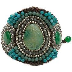 Pannee Green Stone Smokey Crystal Beaded Rope Bracelet ($24) ❤ liked on Polyvore