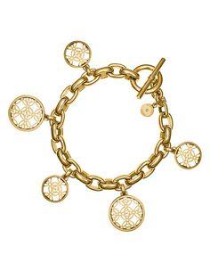 Michael Kors Pave Open Monogram Disc Charm Bracelet