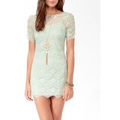 FOREVER 21 Eyelash Lace Zipper Back Dress ($28) ❤ liked on Polyvore