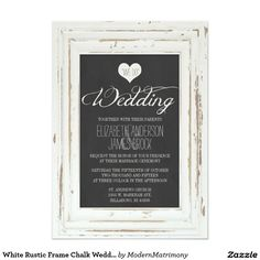 Shop White Rustic Frame Chalk Wedding RSVP Card created by ModernMatrimony. Personalize it with photos & text or purchase as is! Butterfly Wedding Invitations, Chalkboard Wedding Invitations, Wood Invitation, Vintage Wedding Invitations, Elegant Wedding Invitations, Invites, Invitations Online, Wedding Vintage, Shower Invitations