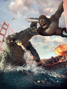 King Kong and Godzilla battling it out by the Golden Gate Bridge in San Francisco by Vitorugo Queiroz for 3D World Magazine #184
