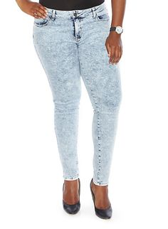 Plus-Size Acid Wash Jeans