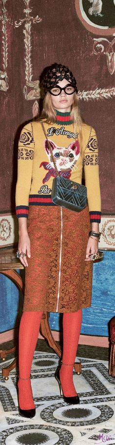 Gucci pre Fall 2016. ♛ ♛~✿Ophelia Ryan ✿~♛ Love the playfullness of this outfit
