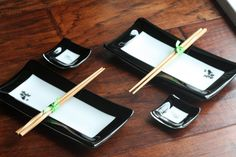 Fused Glass Sushi SetBlack and White with Koi and by JMFusions, $65.00