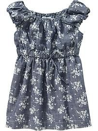 Floral-Print Chambray Dresses for Baby