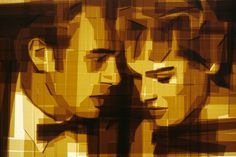 Mark Khaisman - James and Ursula. Packaging tape on acrylic panel with translucent resin light box, inches Acrylic Panels, Ursula, Collage Art, Mixed Media, Instagram, Movie Posters, Belem, Resin, Packaging
