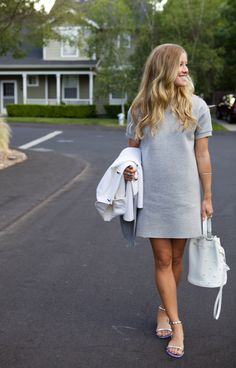 Shift dress with Marc Jacobs bucket bag