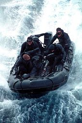 SEAL Team 5 conducts an exercise in a Combat Rubber Raiding Craft in 2000