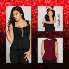 """""""Who's That Lady"""" Black Lace Up Peplum Top New """"Who's That Lady"""" Lace Up Sleeveless Peplum Top S/M/L Color: Black Made in USA Style: """" Who's That Lady"""" Lace Up Sleeveless Peplum Top Size: 2/Small, 2/Medium, 2/Large Fits true to size  PLEASE DO NOT PURCHASE THIS LISTING PLEASE COMMENT BELOW AND I WILL CREATE A SEPARATE LISTING JUST FOR YOUR PURCHASE Glam Squad 2 You Tops"""