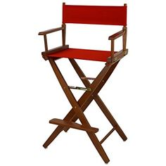 """American Trails Extra-Wide Premium 30"""" Director's Chair Mission Oak Frame with Red Canvas, Bar Height"""