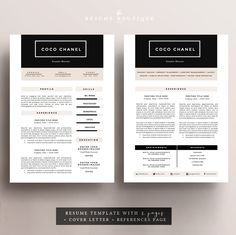 Resume Template 4 page pack CV Template by TheResumeBoutique