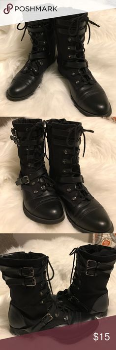 Charlotte Russe black military boots Charlotte Russe black military boots. Features lace up fronts with high and low buckles. Side zippers. Black canvas and leather look. Gently worn in excellent condition. I welcome your best offer 😊👍🏻 Charlotte Russe Shoes Combat & Moto Boots
