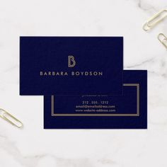 Professional vintage art deco elegant gold navy business card vintage modern gold and navy initial monogram logo business card colourmoves