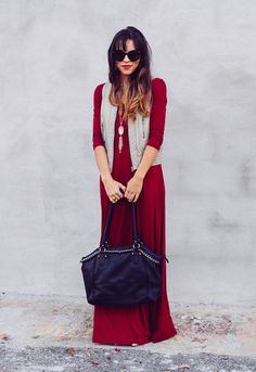 Anna looking gorgeous in a ruby maxi with light grey vest and indigo bag...love this combo!