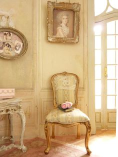 Dollhouse French castle 1''scale, Shabby chair  Louis XV, Stripes, French lace and gold, Furniture for a dollhouse in 1:12th scale on Etsy, $98.30