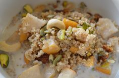 Warm Cinnamon Quinoa and Pear Cereal with Dried Fruit and Nuts