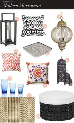 Plenty of home acessories decor for your modern outdoor decor ideas  http://lustluxelove.com/wp-content/uploads/2012/06/modernmorroccan.png
