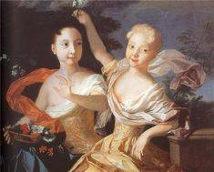 Portrait of sisters Tsarevna Anna Petrovna Romanova (1708-1728 age 20) & future Tsaritsa  Elizabeth Petrovna Romanova (29 Dec 1709-5 Jan 1762 age 52) Russia by Artist Louis Caravaque, with garden background. Black hair Anna holding basket of flowers with orange strip of silk blowing behind her & blond hair Elizabeth is holding blue flowers over Anne's head with violet silk strip held by her elbow on a table wraps around her top & blows behind her. Both sisters wearing gold dresses…
