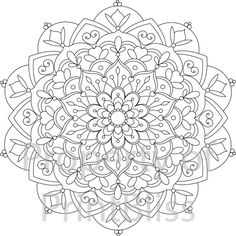 27. Flower Mandala printable coloring page. by PrintBliss on Etsy