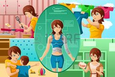 A illustration of housewife handling multiple tasks, portrayed as half human half machine