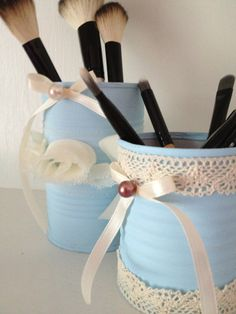 Shabby Cottage Chic, Upcycled Tin, Organizers, Containers, Accesory Holder, Cans, Vintage, Blue, Ivory Trim 13.99