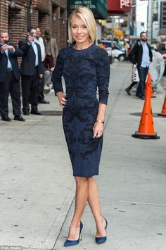 Chic and sophisticated: Kelly Ripa stopped by the Ed Sullivan Theater in New York City to ...