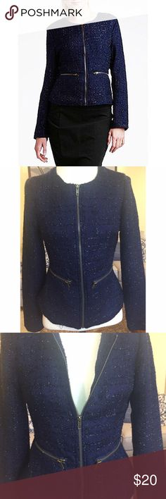 Navy blue metallic tweed blazer jacket Never been worn, in great condition, a couple of threads hanging out cause of material and from just hanging in my closet, but super cute blazer/jacket Charlotte Russe Jackets & Coats Blazers