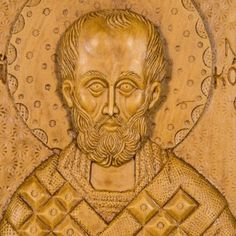 Saint Nicholas aromatic wall icon/plaque made with pure beeswax, mastic and incense from Mount Athos. Saint Nicholas, Patron Saints, Christian Gifts, Wall Plaques, Hand Carved, Carving, Statue, Pure Products, Artwork