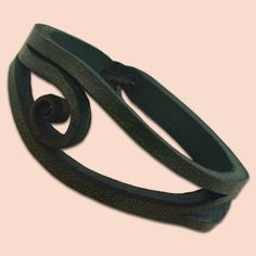 Handmade Leather Agnes Bracelet 009 Green by snis on Etsy, $16.00