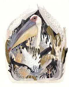 Pelican Nesting - Original painting. by Michelle Morin, via Etsy.