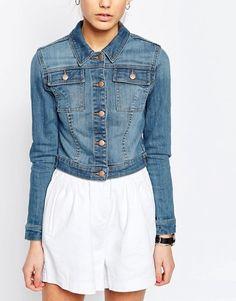 ASOS Denim Shrunken Jacket In Mid Blue Wash