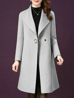 It is time to buy a new coat. Choose this this elegant lapel coat in light tan for its simple classic style Mode Hijab, Coat Dress, Mantel, Autumn Fashion, Fashion Outfits, Fashion Coat, Clothes For Women, Dress Coats For Women, Dresses