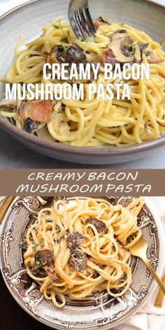 This Creamy Bacon Mushroom Pasta is a perfect date night at home meal or even just an average weeknight Creamy pasta with bacon creamy pasta with mushrooms easy pasta recipe date night at home recipe fancy but easy quick dinner recipe easy dinner idea Pasta Recipes Date Night, Dinner Recipes Easy Quick, Easy Pasta Recipes, Quick Easy Meals, Healthy Dinner Recipes, Cooking Recipes, Cooking Bacon, Quick Easy Lunch Ideas, Basic Pasta Recipe