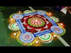 क्षमा : How to draw big rangoli with stencils Beautiful Ra. Designs Rangoli, Beautiful Rangoli Designs, Special Rangoli, Leaf Crafts, Simple Rangoli, Stencil Designs, Big And Beautiful, Diwali, Festivals