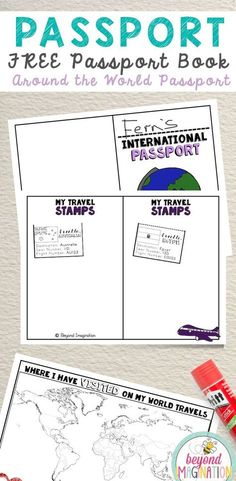Around the world passport for country studies. Printable craft for kids. Around the world dramatic play travel. idea the world training craft craft diy craft for kids craft no sew craft to sale Around The World Crafts For Kids, Around The World Theme, Around The World In 80 Days, Around The Worlds, Travel Crafts, Camping Crafts, Passports For Kids, International Passport, International Day
