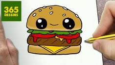 COMMENT DESSINER HAMBURGER KAWAII ÉTAPE PAR ÉTAPE – Dessins kawaii facile