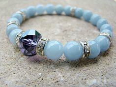 Stretch Bracelet, Gemstone Bracelet, Beaded Stretch Bracelet, Blue, Beaded Jewelry, Purple, Elastic Beaded Bracelet, Stacking Bracelet, Boho by BeJeweledByCandi on Etsy