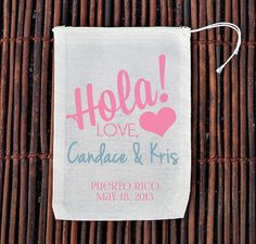 Hola Personalized Welcome Bag Muslin Cotton Mini Favor by ilulily, $3.00