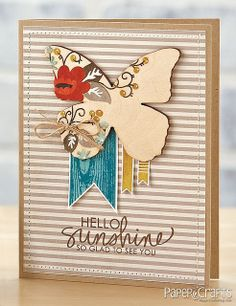 Sunshine & Butterflies Card by @Jaclyn Booton Booton Miller==would look  even better if you  ran the background paper thru a crimper