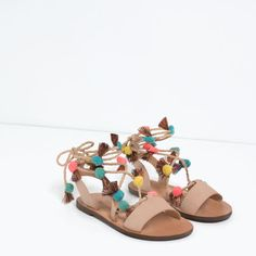 Image 7 of LACE-UP LEATHER SANDALS from Zara
