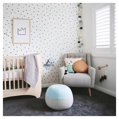 From @thislittlelove_au 's nursery for baby #2 featuring our round tan tab leather cushion and Tawny square cushion on her feeding chair. www.ninicreative.com