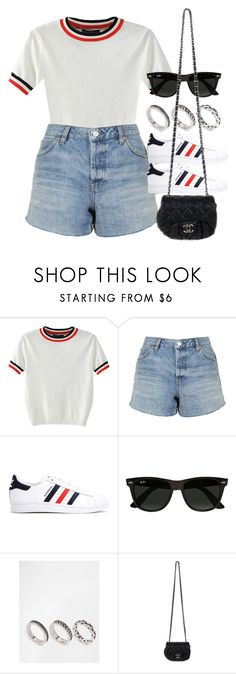"""Sin título #12489"" by vany-alvarado ❤ liked on Polyvore featuring WithChic, Topshop, adidas, Ray-Ban, ASOS and Chanel"