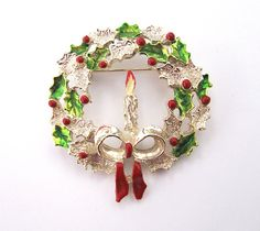 Vintage Holly Wreath Brooch with Candle by LovesVintageDelights, $12.00
