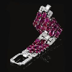 An important ruby and diamond bracelet , probably Van Cleef & Arpels, circa 1935 | lot | Sotheby's